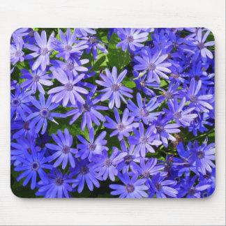 Blue Daisy-like Flowers Mouse Pad