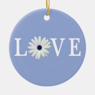 Blue Daisy Love Ornament