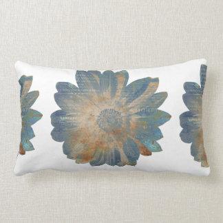 Blue Daisy/Solid Tan Reversible Lumbar Pillow