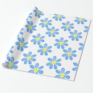 Blue Daisy Watercolor Flower Pattern 2 Wrapping Paper
