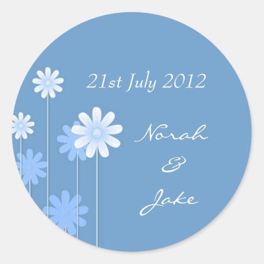 Blue Daisy Wedding Envelope Seal Round Sticker