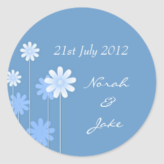 Blue Daisy Wedding Envelope Seal Round Stickers