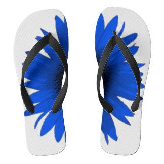 Blue Daisy White Flip Flop Shower Shoes