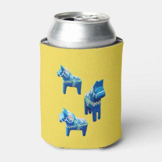 Blue Dala Horse Can Cooler