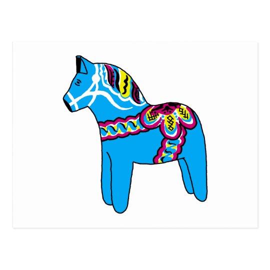 Blue Dala Horse Postcard