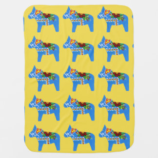 Blue Dala Horses Baby Blanket