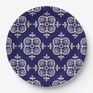 Blue Damask 9 Inch Paper Plate