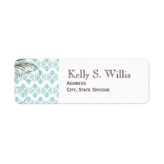 Blue Damask Address Labels