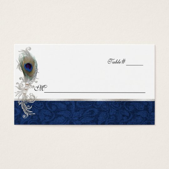 Blue Damask and Peacock Feather Wedding Place Card