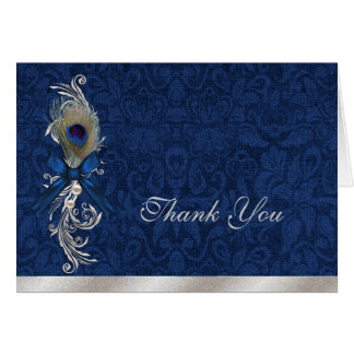 Blue Damask and Peacock Feather Wedding Thank You Note Card