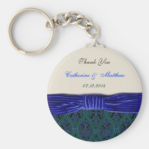 blue damask and ribbon  thank you keychain