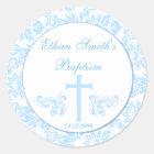 Blue Damask Baptism Favour Stickers Seals
