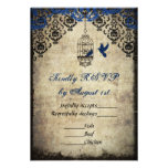Blue Damask Birdcage Vintage Wedding RSVP Custom Invitations