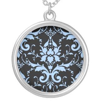 Blue Damask Black Color Background Round Necklace