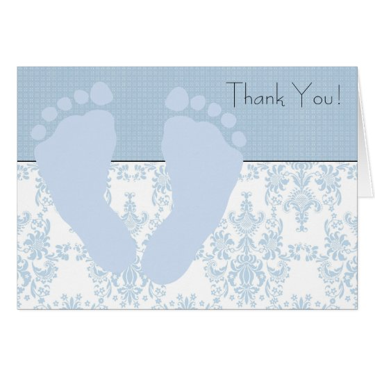 Blue Damask Blue Baby Feet Baby Thank You Card