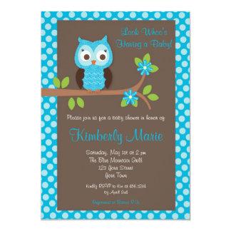 Blue Damask Boy Owl Baby Shower Invitation