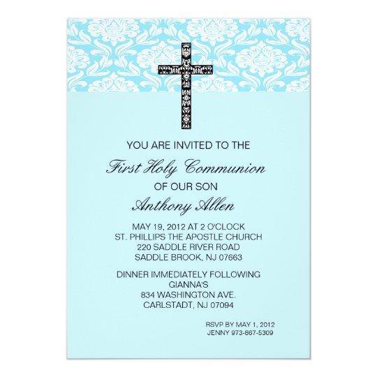 Blue Damask Boys Communion Invitation