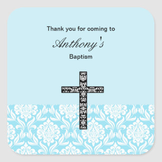 Blue Damask Boys Thank You stickers