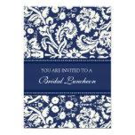 Blue Damask Bridal Luncheon Invitation Cards