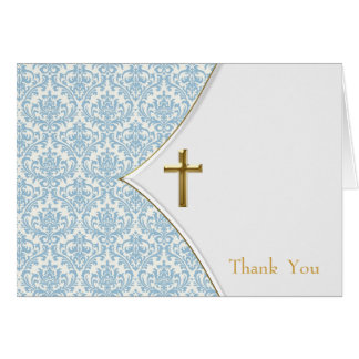 Blue Damask Christening Thank You Card