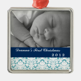Blue damask classic navy band baby's first holiday christmas ornament