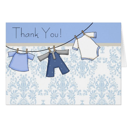 Blue Damask Clothesline Baby Boy Thank You Cards