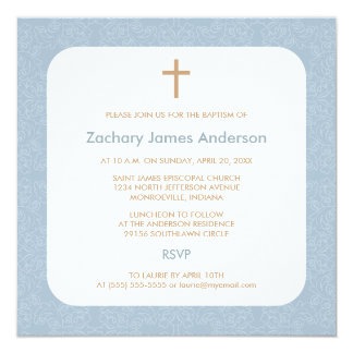 Blue Damask & Cross Baptism Invitations