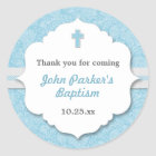 Blue Damask cross boy baptism christening favour Classic Round Sticker