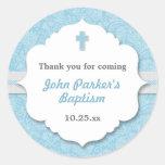 Blue Damask cross boy baptism christening favour Round Sticker