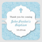 Blue Damask cross boy baptism christening favour Square Sticker
