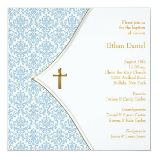 Blue Damask Cross Boy Christening 13 Cm X 13 Cm Square Invitation Card