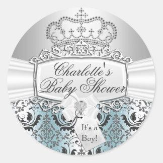 Blue Damask & Crown Prince Baby Shower Sticker