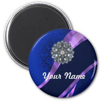Blue damask & crystal magnet