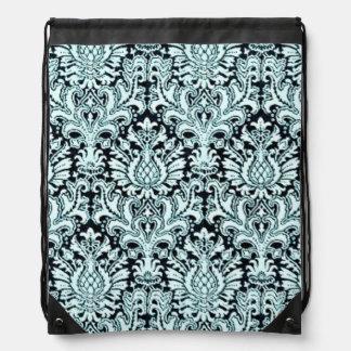 Blue Damask Drawstring Backpack