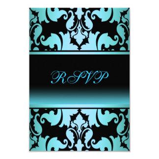 Blue Damask Elegant Quinceanera RSVP 9 Cm X 13 Cm Invitation Card