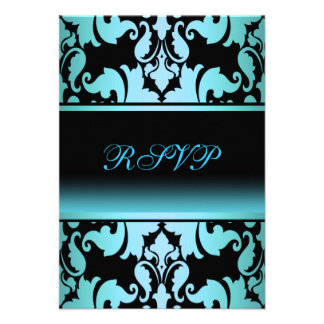 Blue Damask Elegant Quinceanera RSVP Personalized Invites