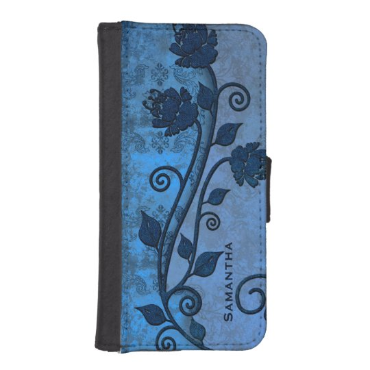 Blue Damask Floral iPhone 5S Wallet Case