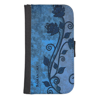 Blue Damask Floral Samsung S4 Wallet Case