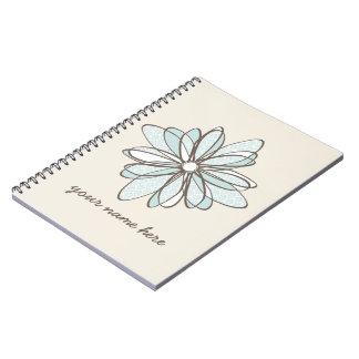Blue Damask Flower Spiral Notebook