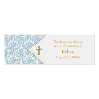 Blue Damask Gold Cross Bomboniere Tags Pack Of Skinny Business Cards