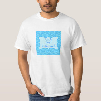 Blue Damask It's A Boy Name Personalized Dad's Tshirt