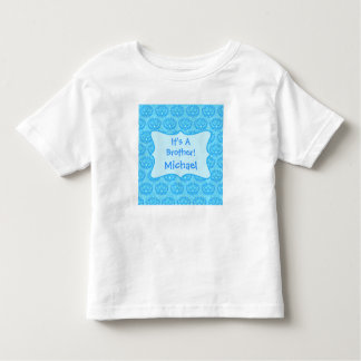 Blue Damask It's A Brother Name Personalized Kids Shirts
