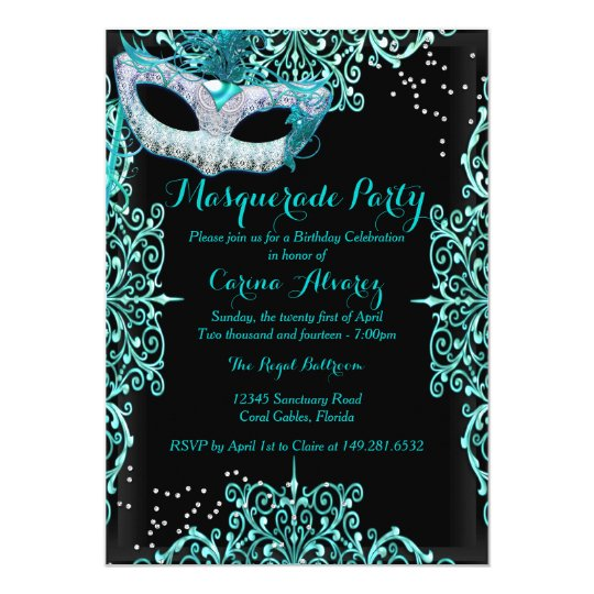Blue Damask Masquerade Birthday Invitation