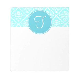 Blue Damask Monogram Notepad