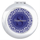 Blue Damask Monogram Personalised Compact Mirror