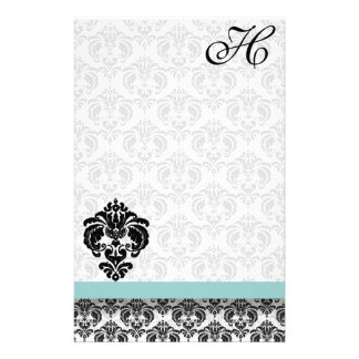 Blue Damask Monogram Recycled Paper