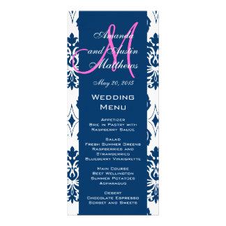 Blue Damask Monogram Wedding Menu Cards