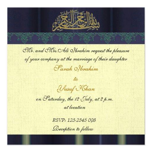 Blue Damask Muslim wedding Personalised Announcement