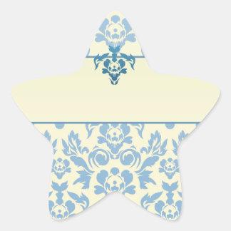 Blue Damask on Cream Background Wedding Star Sticker
