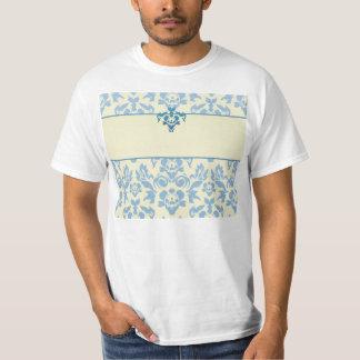 Blue Damask on Cream Background Wedding Tshirt